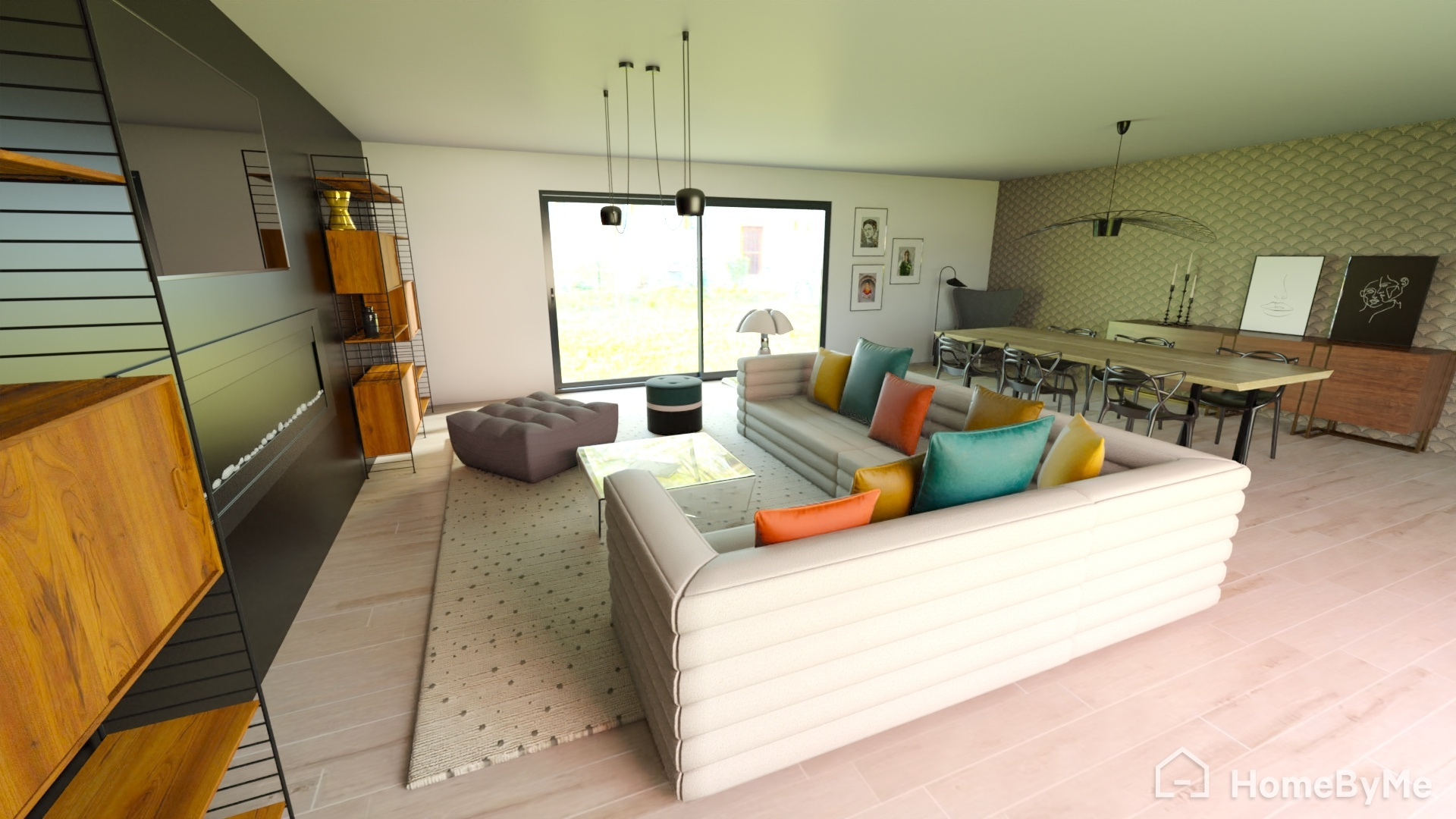 Vue 3D réaliste d'un séjour salle à manger salon
