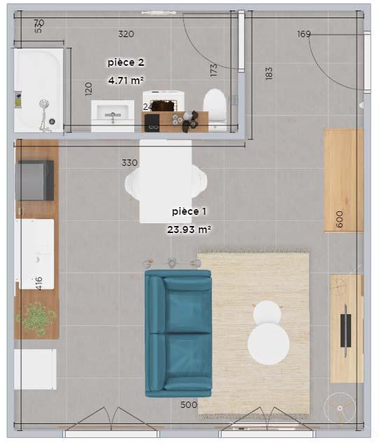 Exemple de plan métré meublé