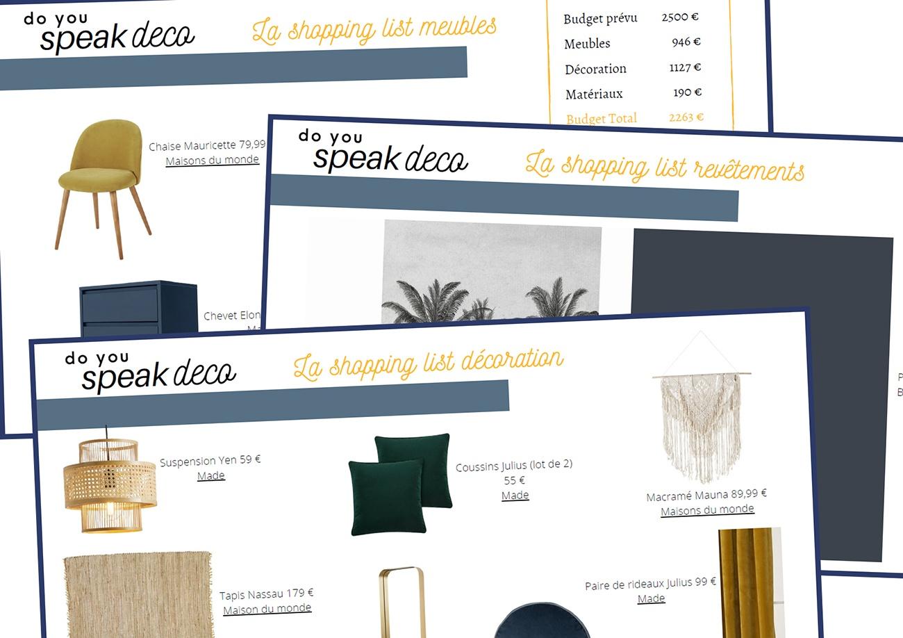Shopping list d'un projet 3D de Do You Speak Deco